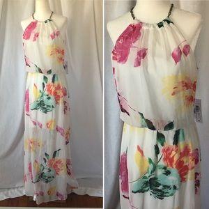 Bisou Bisou Halter Maxi Dress NWT Floral Print